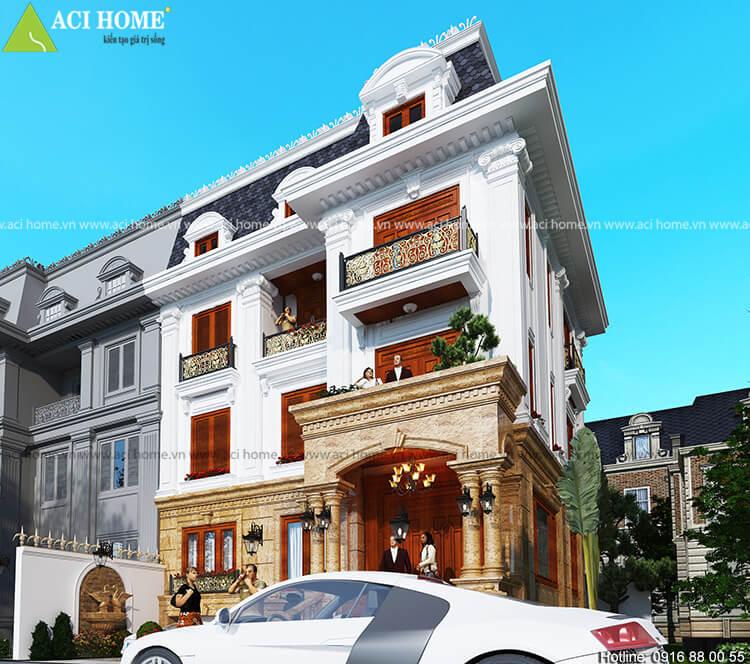 căn biệt thự được thiết kế với phong cách cổ điển