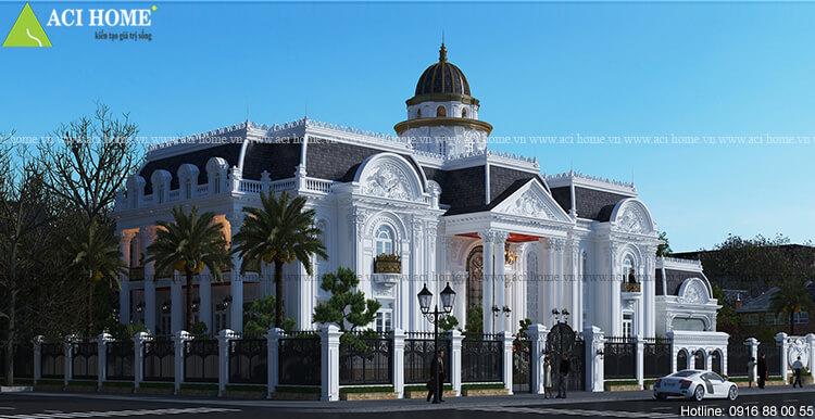 Mẫu thiết kế biệt thự kiểu Pháp 2 tầng tại thành phố Hòa Bình