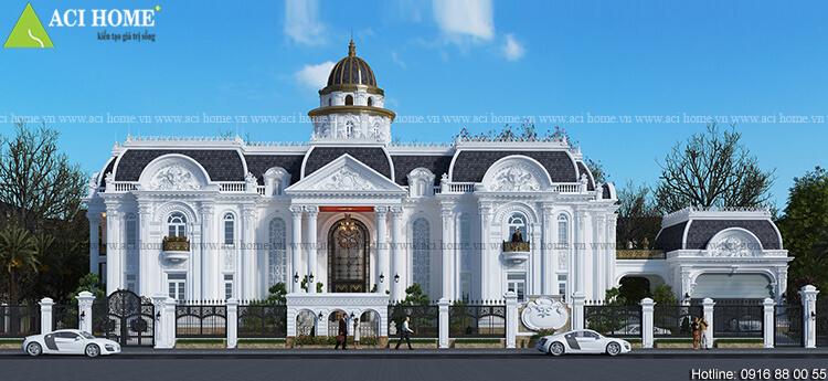 Thiết kế biệt thự 2 tầng mặt tiền rộng