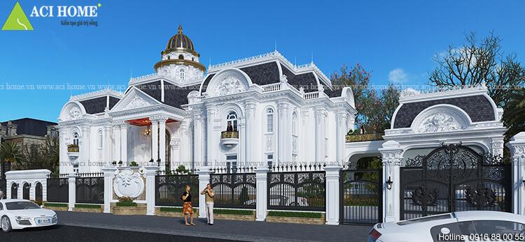 thiết kế biệt thự kiểu Pháp 2 tầng tone trắng