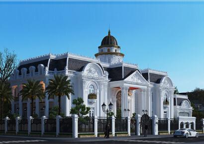 thiết kế biệt thự kiểu Pháp 2 tầng tại Lương Sơn Hòa Bình