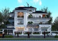 Thiết kế biệt thự tân cổ điển Pháp 3 tầng 330m2 tại Vĩnh Phúc