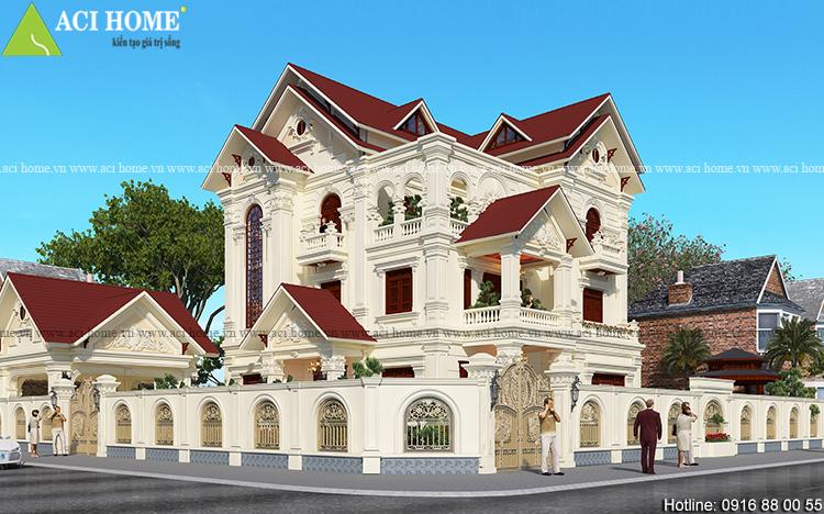 Thiết kế biệt thự tân cổ điển kiến trúc Pháp