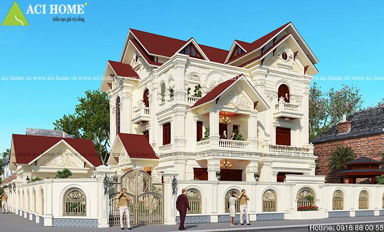 Thiết kế căn biệt thự tân cỏ điển 3 tầng