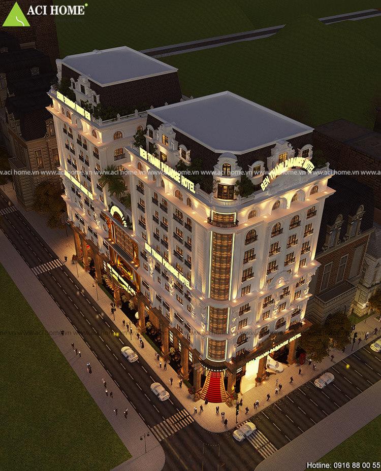 Thiết kế khách sạn 3 sao kiến trúc Pháp