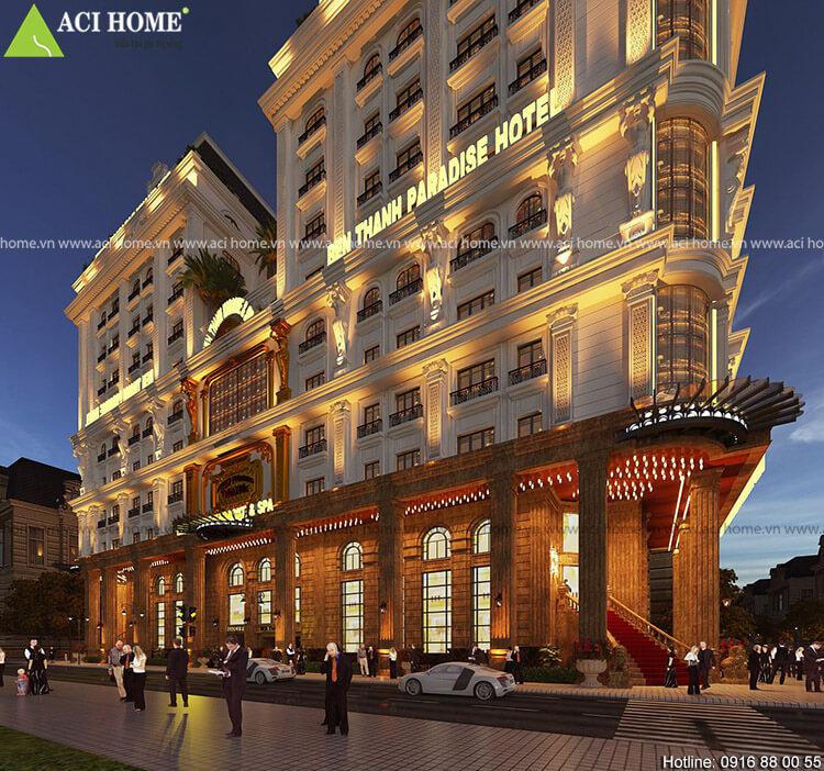 thiết kế khách sạn kiểu Pháp song lập