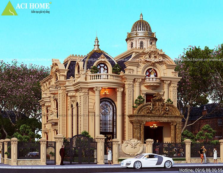 thiết kế biệt thự kiến trúc Pháp mặt tiền 10m