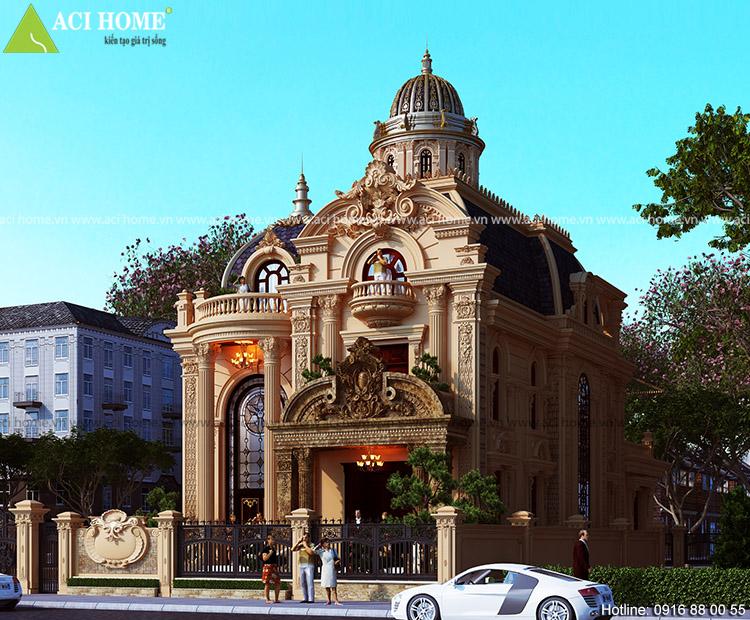 Thiết kế tiền sảnh mặt tiền kiến trúc Pháp