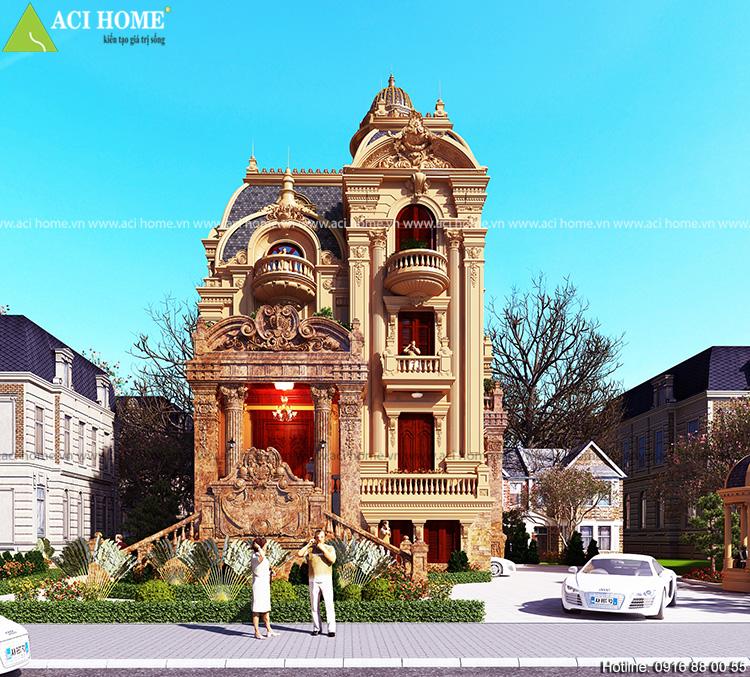 Thiết kế không gian mặt tiền biệt thự kiến trúc Pháp