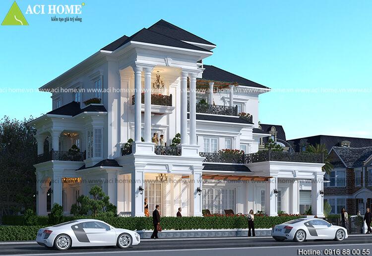 Thiết kế căn biệt thự kiến trúc Pháp phong cách tân cổ điển