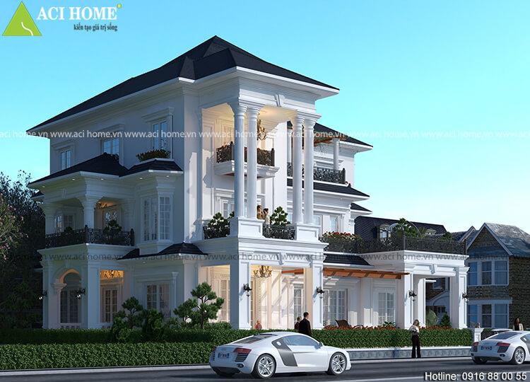 thiết kế bố cục căn biệt thự với 3.5 tầng