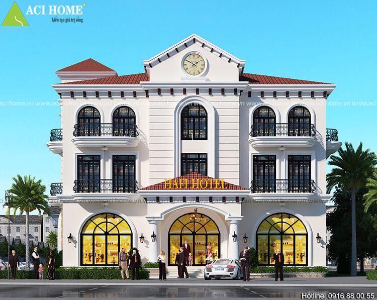 Mặt tiền của khách sạn rộng 22 m2