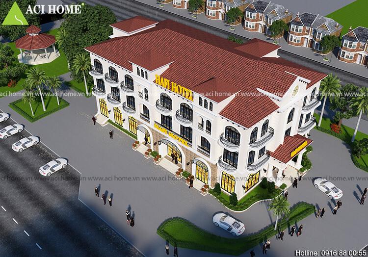 Góc nhìn tổng quát mẫu thiết kế khách sạn từ trên cao