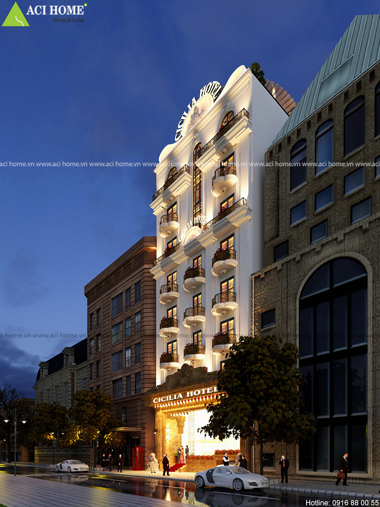 thiết kế khách sạn với tone màu trắng