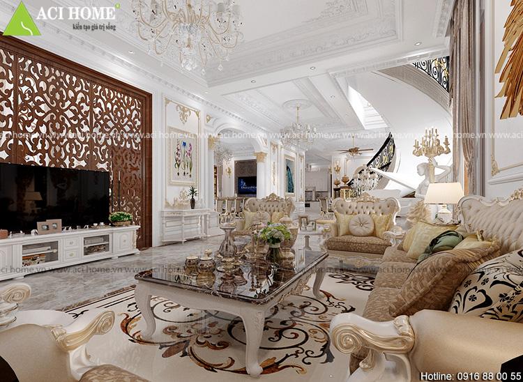 phòng khách được thiết kế với màu trắng