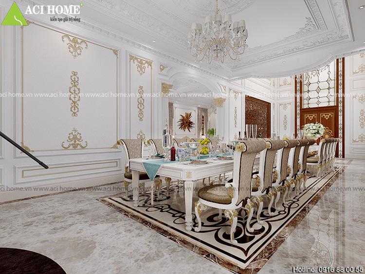 Phòng ăn được thiết kế với không gian rộng