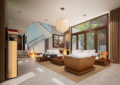 thiết kế nội thất biệt thự xanh