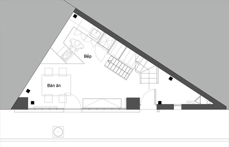 Cách khách phục xây dựng nhà trên mảnh đất hình tam giác bản vẽ