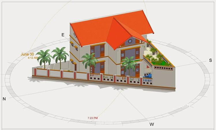 mô hình 3D một mẫ thiết kế trên mảnh đất hình tam giác