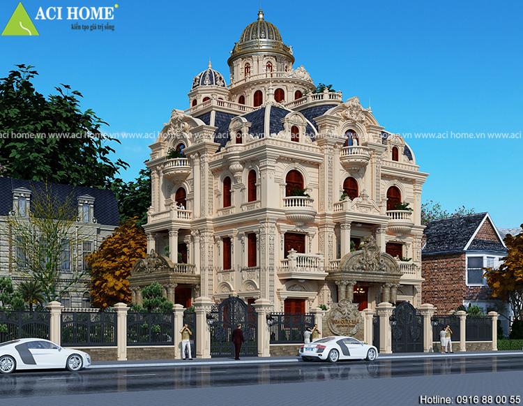Mẫu thiết kế biệt thự kiểu Pháp 4,5 tầng tại Tp Nam Đình