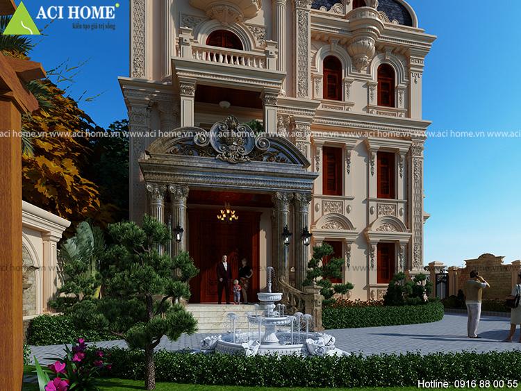thiết kế biệt thự kiểu Pháp cột Corinth