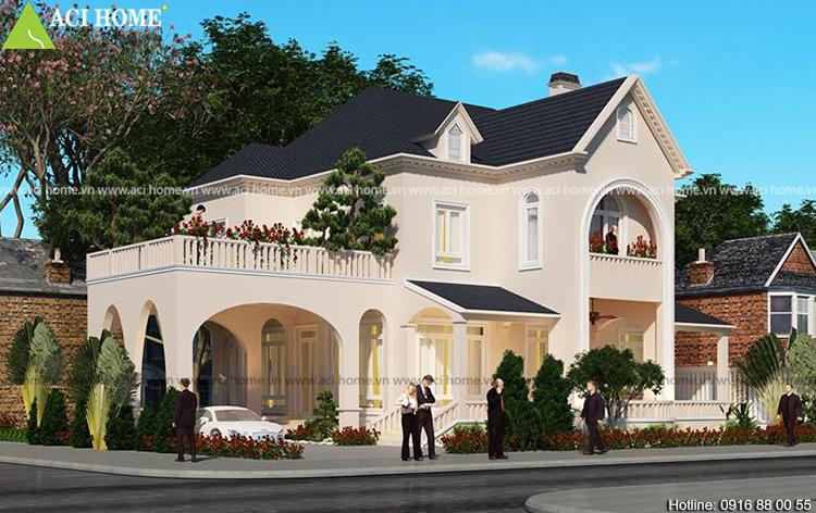 thiết kế biệt thự 2 tầng tại Bắc Giang