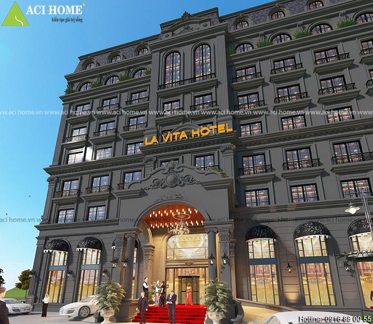 Mặt tiền khách sạn cổ điển