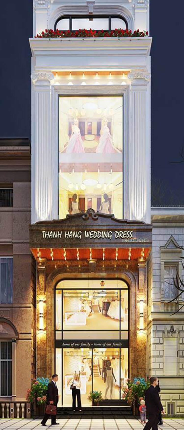 Thiết kế nhà phố kinh doanh váy cưới