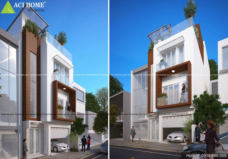 Thiết kế nhà phố dạng mái bằng