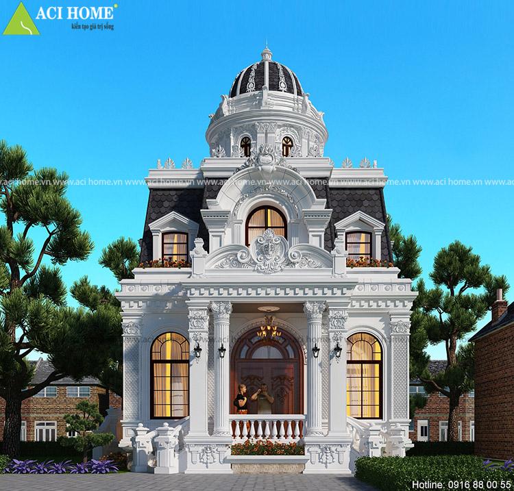 biệt thự kiểu Pháp 2 tầng với góc nhìn mặt tiền