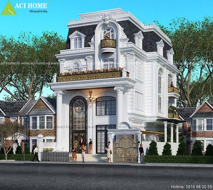 nhà biệt thự phố kiến trúc Pháp