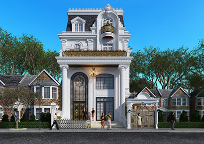 thiết kế nhà biệt thự phố kiểu Pháp