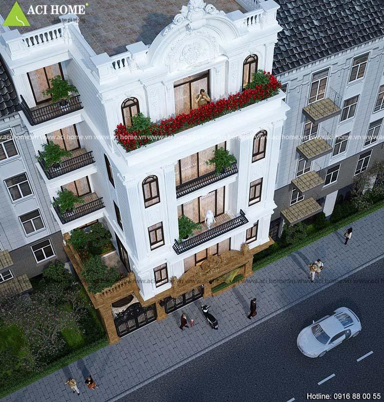 nhà phố 5 tầng cổ điển Pháp