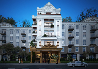 mẫu thiết kế nhà phố kiểu Pháp 5 tầng