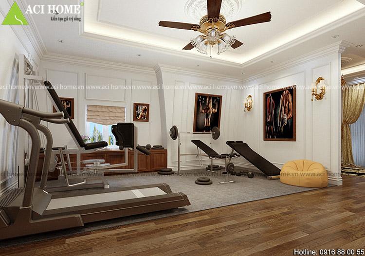 phòng tập gym bên trong biệt thự