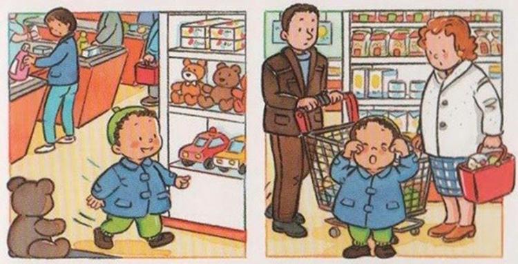 trẻ lạc trong siêu thị