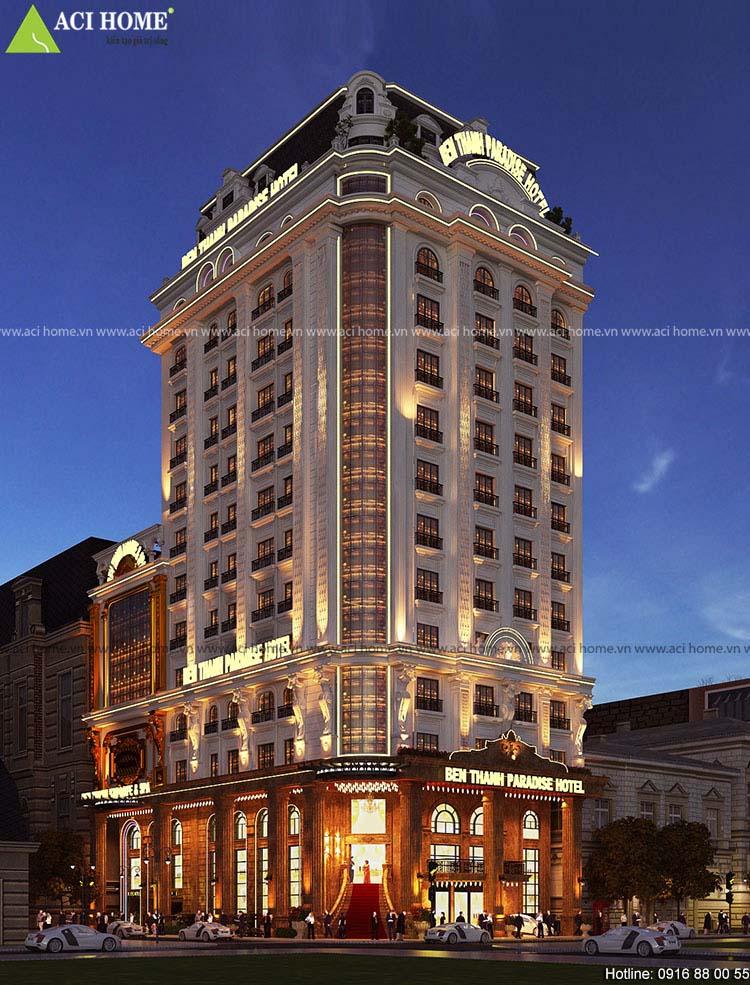 thiết kế khách sạn 2 măt tiền 10m