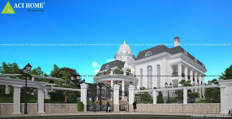 Thiết kế biệt thự vườn 2 tầng kiến trúc cổ điển sang trọng