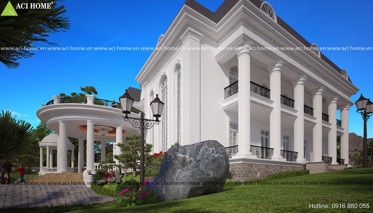 Thiết kế biệt thự vườn 2 tầng mang phong cách cổ điển