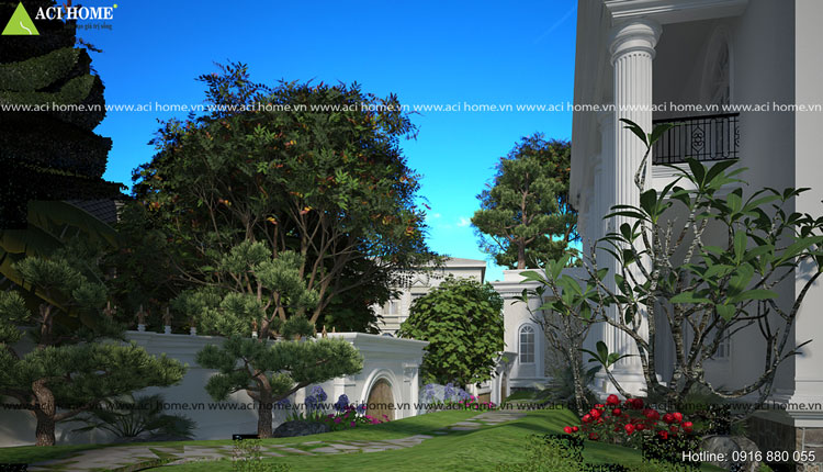 Thiết kế biệt thự vườn đẹp với không gian cổ điển
