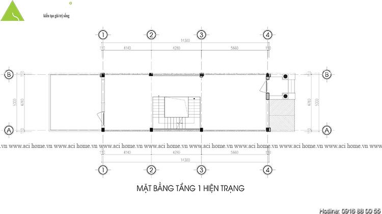 Cải tạo và thiết kế nội thất Shophouse tại Mễ Trì -Hà Nội - Hiện trạng chưa cải tạo